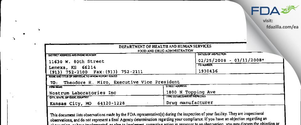 Nostrum Labs FDA inspection 483 Mar 2008