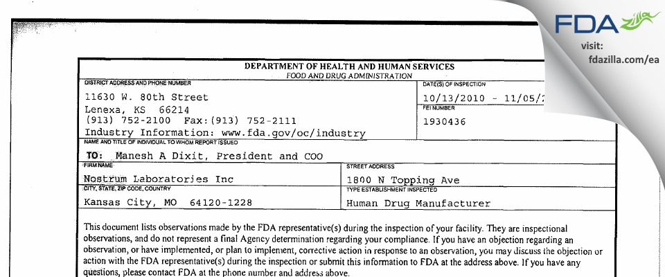 Nostrum Labs FDA inspection 483 Nov 2010