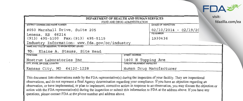 Nostrum Labs FDA inspection 483 Feb 2014