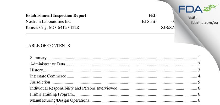Nostrum Labs FDA inspection 483 Feb 2014