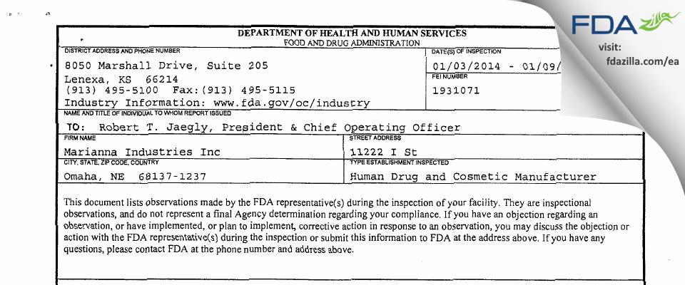 Marianna Industries FDA inspection 483 Jan 2014