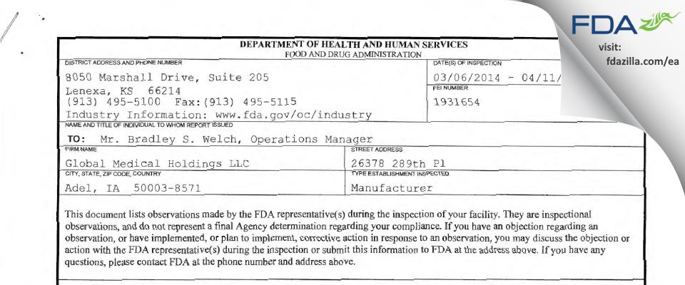 Global Medical Holdings FDA inspection 483 Apr 2014