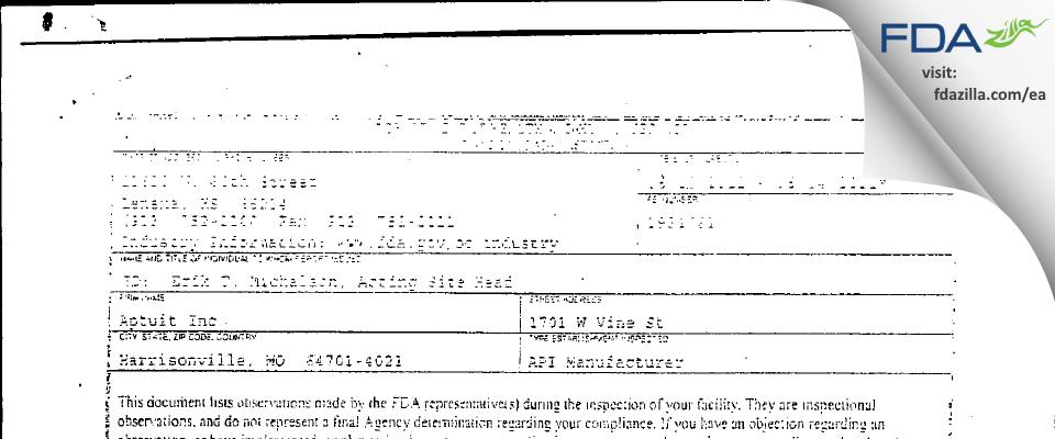 Aptuit (Scientific Operations) FDA inspection 483 Jun 2011