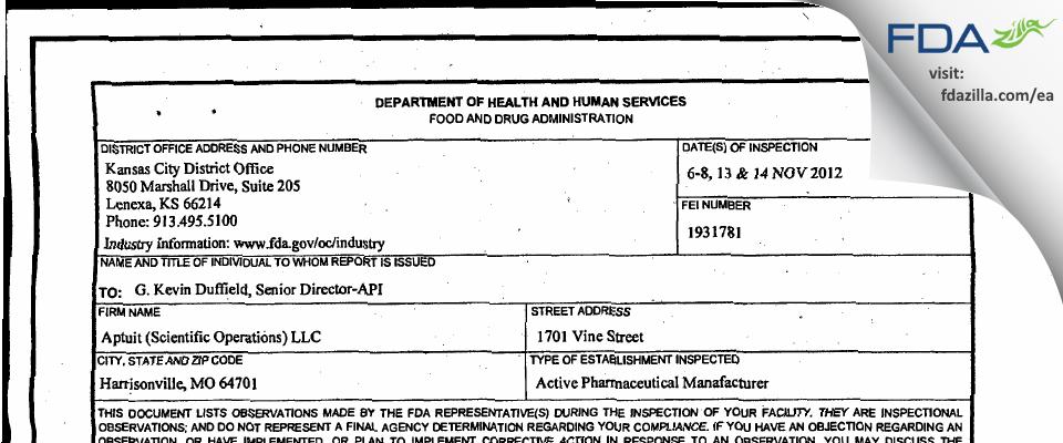 Aptuit (Scientific Operations) FDA inspection 483 Nov 2012