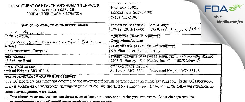 Nesher Pharmaceuticals (USA) FDA inspection 483 Mar 2000