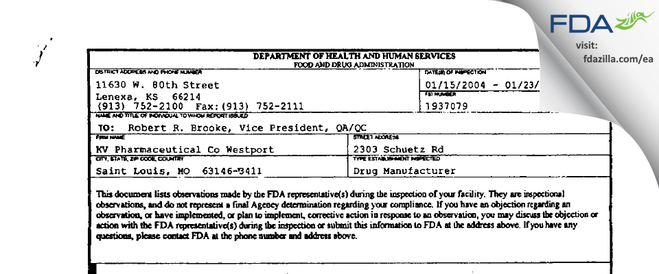 Nesher Pharmaceuticals (USA) FDA inspection 483 Jan 2004
