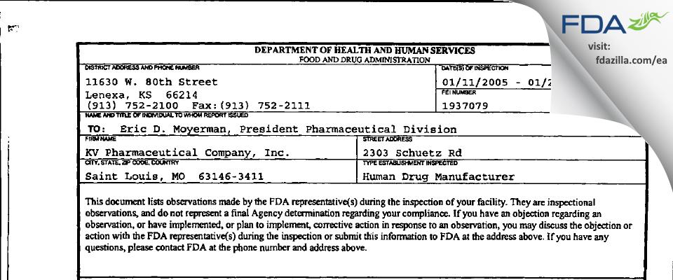 Nesher Pharmaceuticals (USA) FDA inspection 483 Jan 2005
