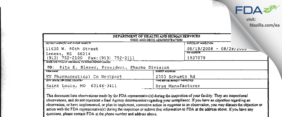 Nesher Pharmaceuticals (USA) FDA inspection 483 Aug 2008