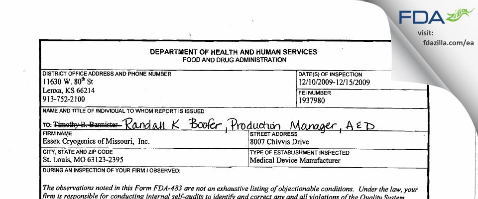 Essex Industries FDA inspection 483 Dec 2009