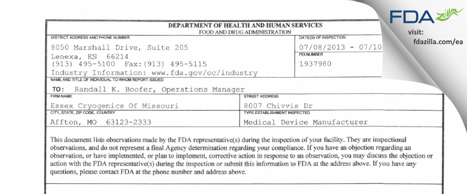 Essex Industries FDA inspection 483 Jul 2013