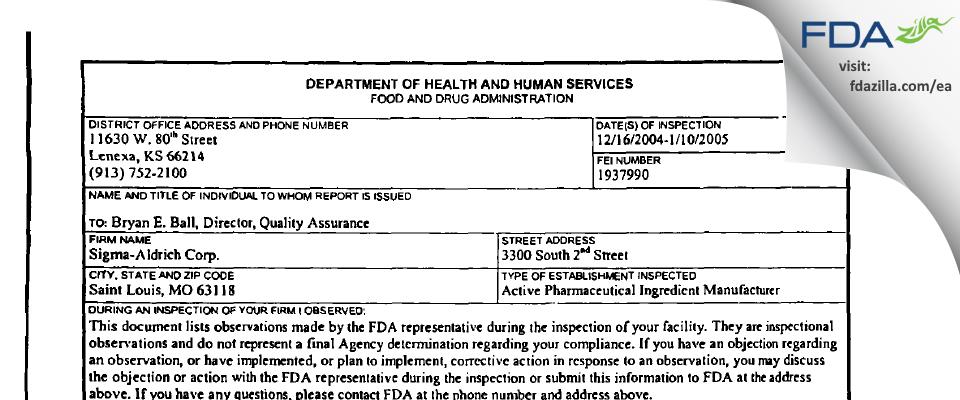 Sigma-Aldrich Mfg FDA inspection 483 Jan 2005