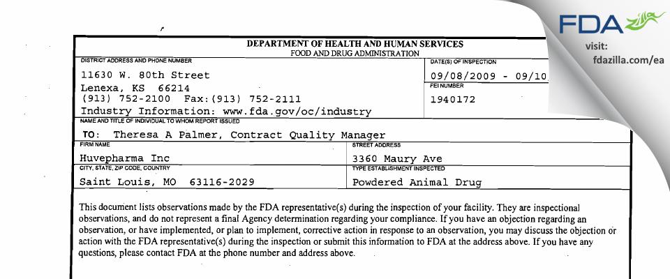 Huvepharma FDA inspection 483 Sep 2009