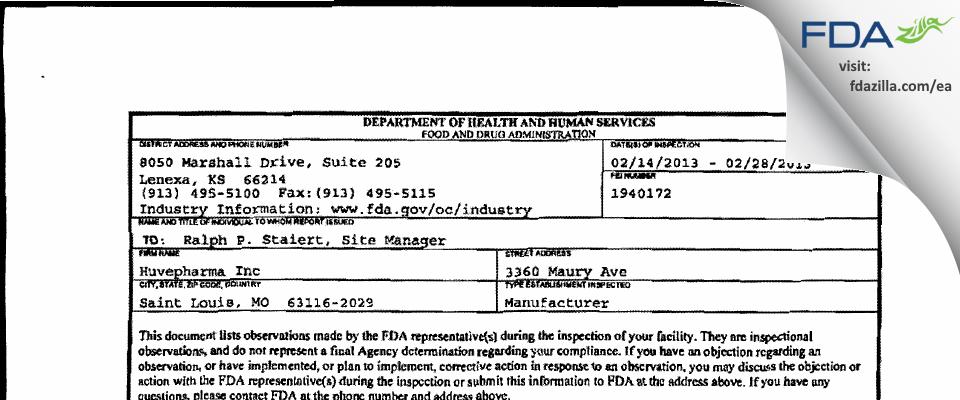 Huvepharma FDA inspection 483 Feb 2013