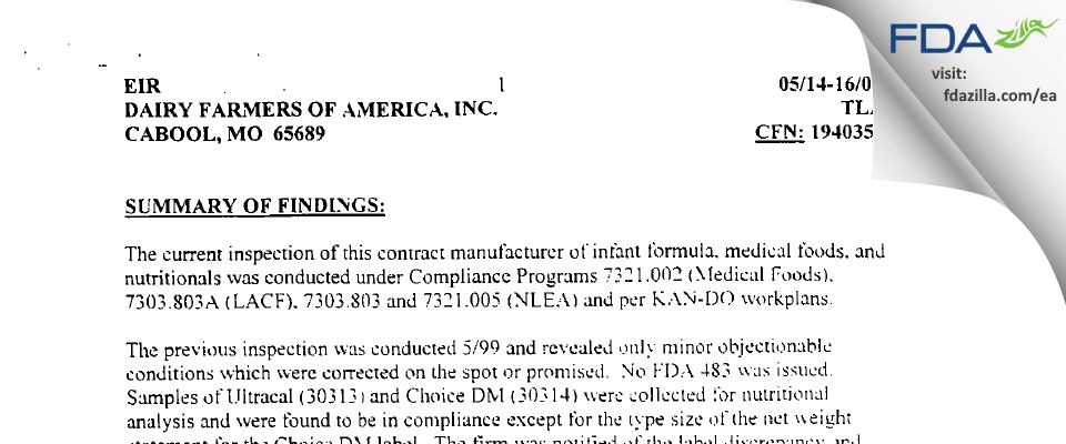 Dairy Farmers of America FDA inspection 483 May 2001