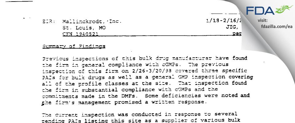 SpecGx FDA inspection 483 Feb 2000