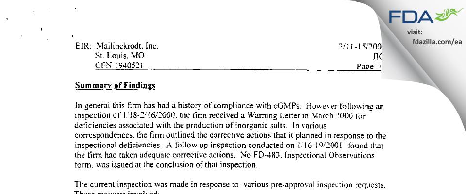 SpecGx FDA inspection 483 Feb 2002