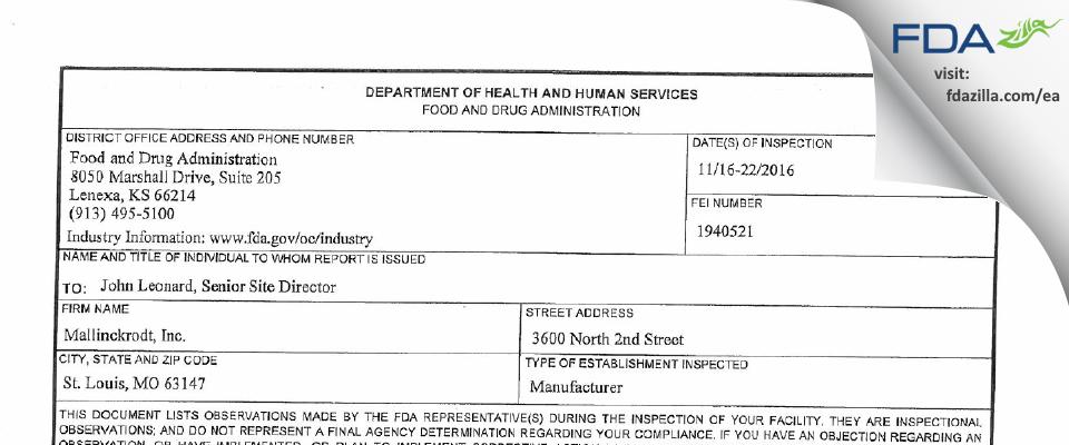 SpecGx FDA inspection 483 Nov 2016