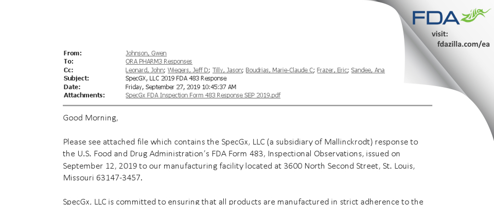 SpecGx FDA inspection 483 Sep 2019