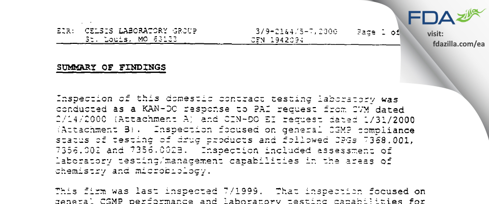 Alcami FDA inspection 483 Apr 2000