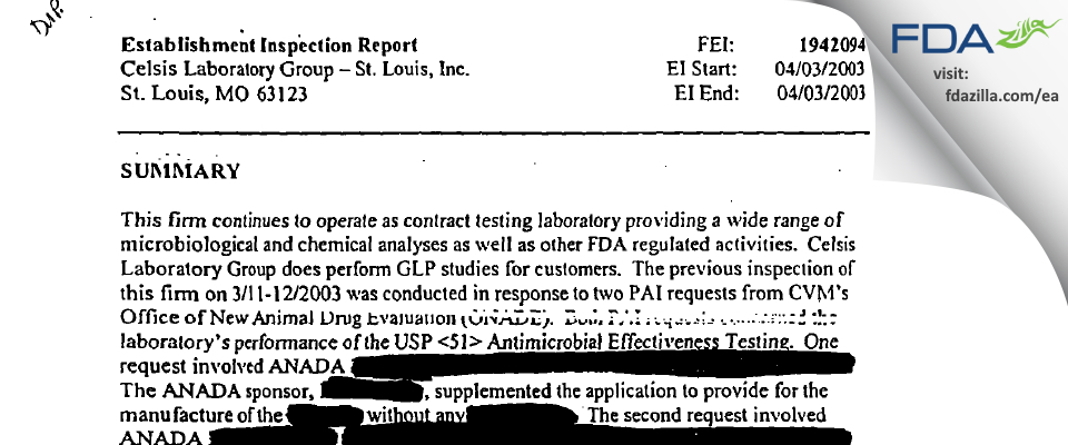 Alcami Missouri FDA inspection 483 Apr 2003