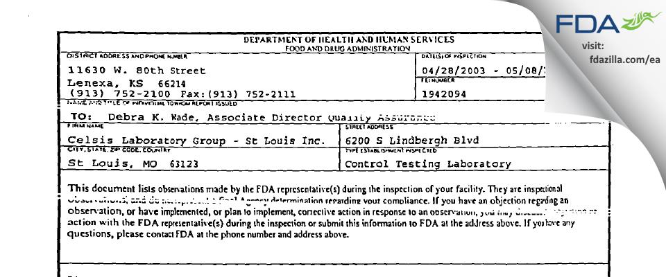 Alcami Missouri FDA inspection 483 May 2003