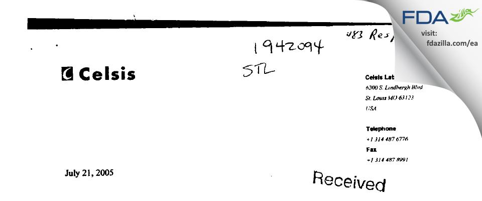 Alcami Missouri FDA inspection 483 Jun 2005