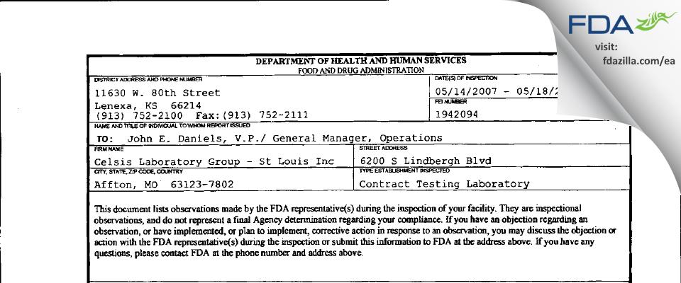 Alcami Missouri FDA inspection 483 May 2007