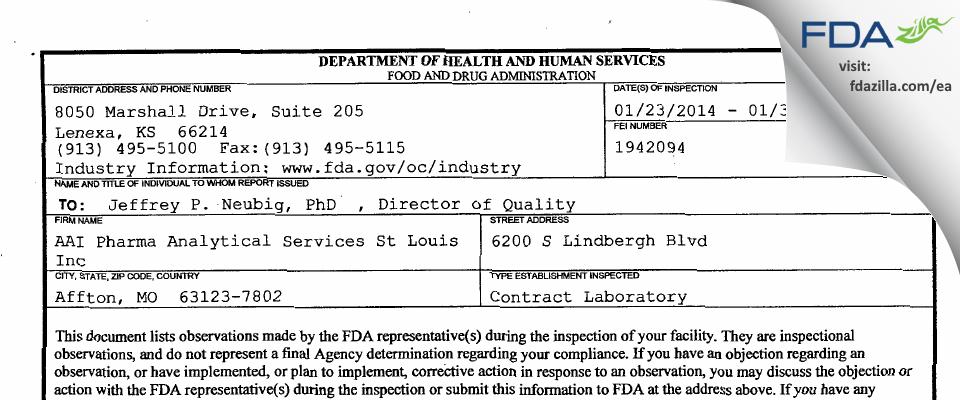 Alcami Missouri FDA inspection 483 Jan 2014