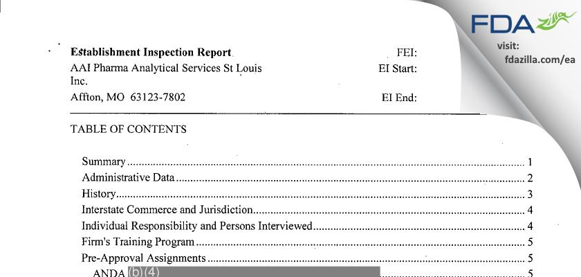 Alcami Missouri FDA inspection 483 Jan 2015