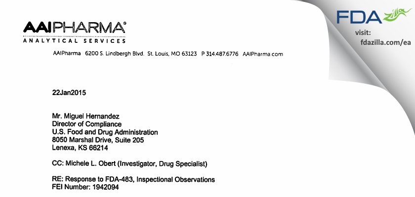 Alcami FDA inspection 483 Jan 2015