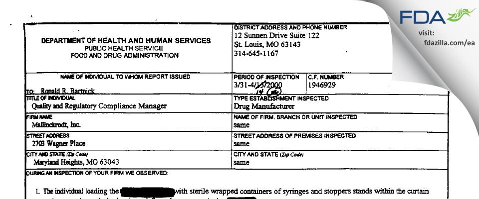 Curium US FDA inspection 483 Apr 2000