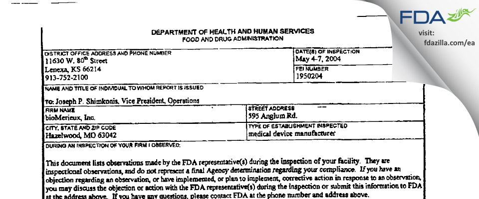 Biomerieux FDA inspection 483 May 2004