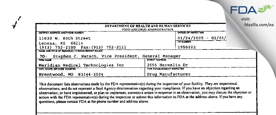 Meridian Medical Technologies dba Meridian Medical Tec FDA inspection 483 Feb 2005