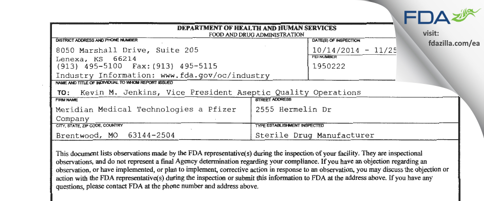 Meridian Medical Technologies  a Pfizer Company FDA inspection 483 Nov 2014