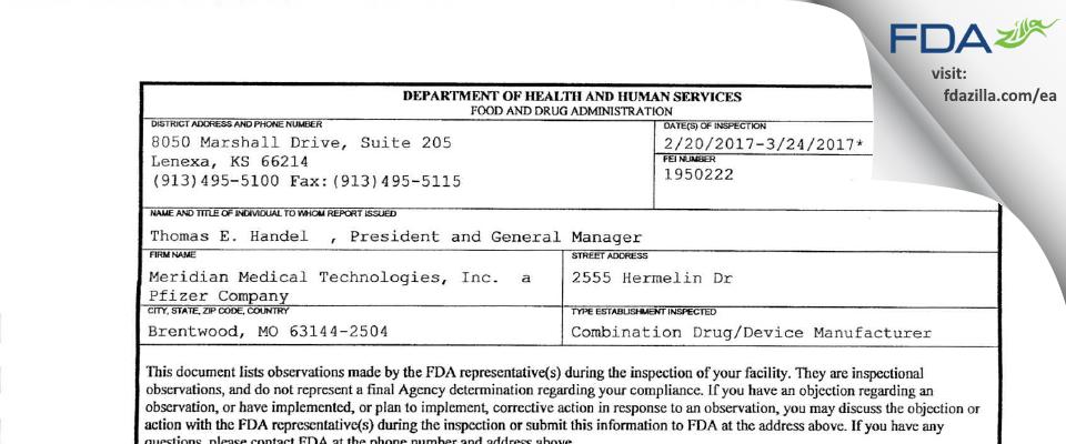 Meridian Medical Technologies  a Pfizer Company FDA inspection 483 Mar 2017