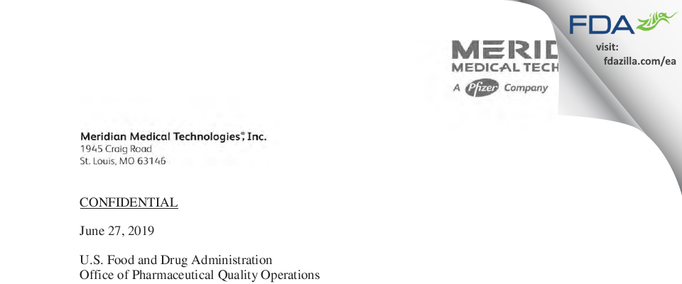 Meridian Medical Technologies dba Meridian Medical Tec FDA inspection 483 Jun 2019