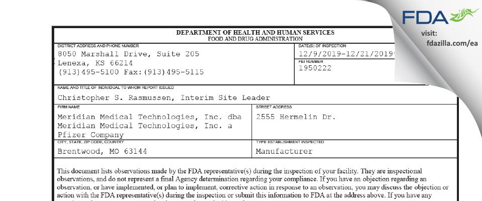 Meridian Medical Technologies dba Meridian Medical Tec FDA inspection 483 Dec 2019