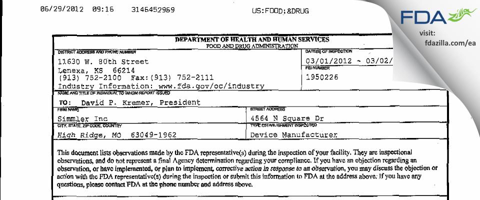 Simmler FDA inspection 483 Mar 2012