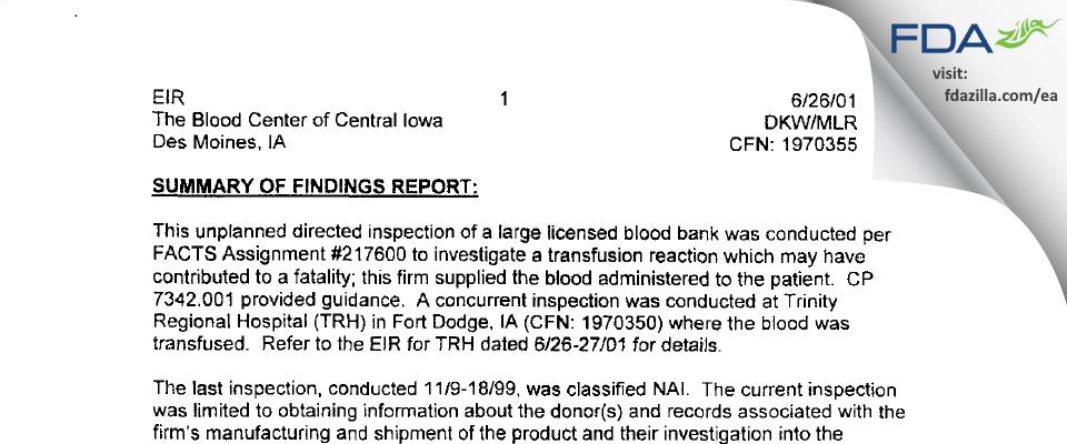 LifeServe Blood Center FDA inspection 483 Jun 2001