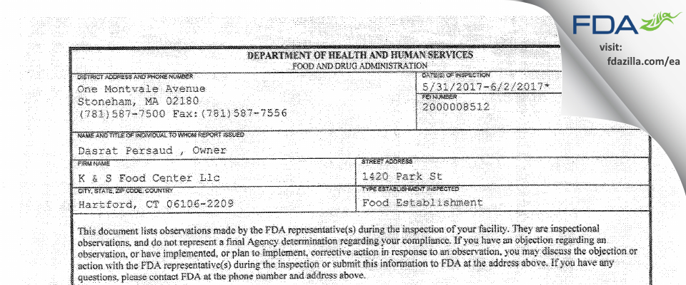 K & S Food Center FDA inspection 483 Jun 2017