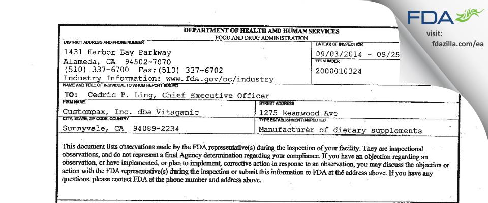Custompax, dba Vitaganic FDA inspection 483 Sep 2014