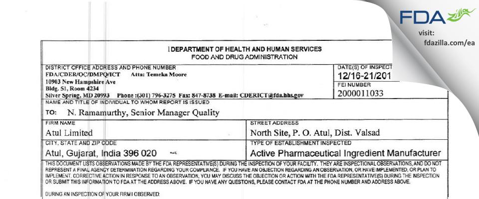 ATUL FDA inspection 483 Dec 2013