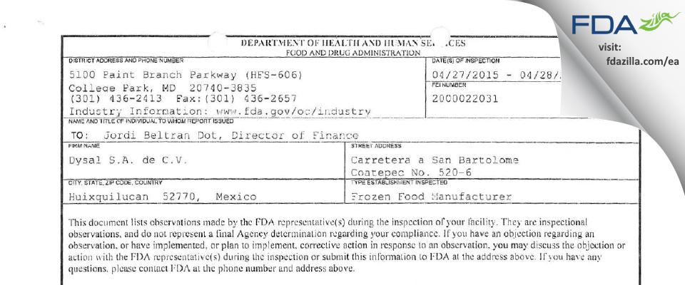 Dysal de C.V. FDA inspection 483 Apr 2015
