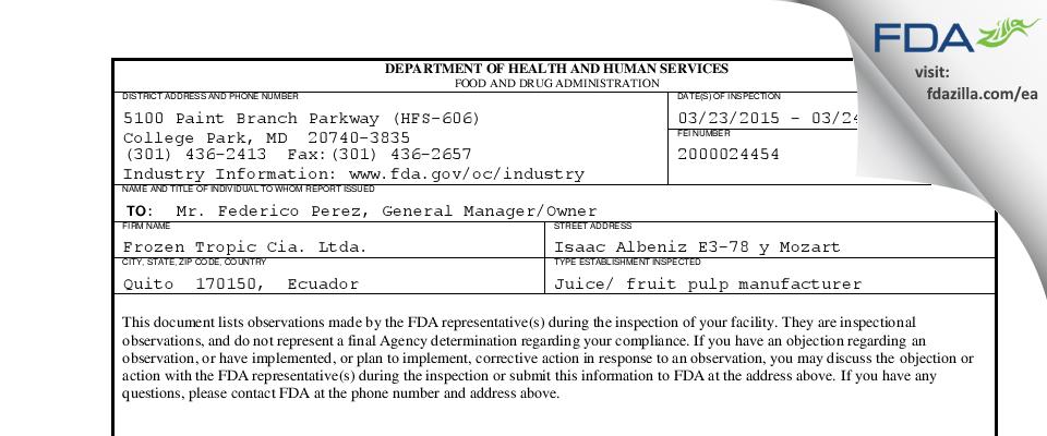 Frozen Tropic Cia.a. FDA inspection 483 Mar 2015