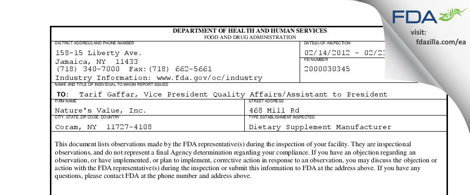 Nature's Value FDA inspection 483 Feb 2012