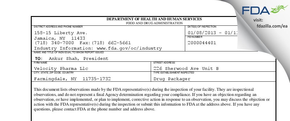 Velocity Pharma FDA inspection 483 Jan 2013