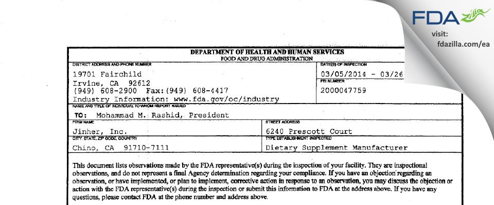 Jinher FDA inspection 483 Mar 2014