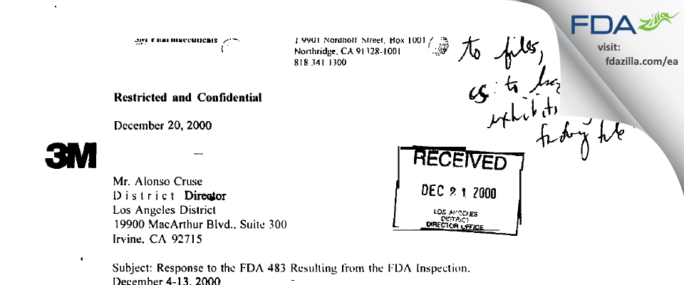 3M Drug Delivery Systems FDA inspection 483 Dec 2000