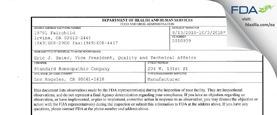 Standard Homeopathic Company FDA inspection 483 Oct 2018