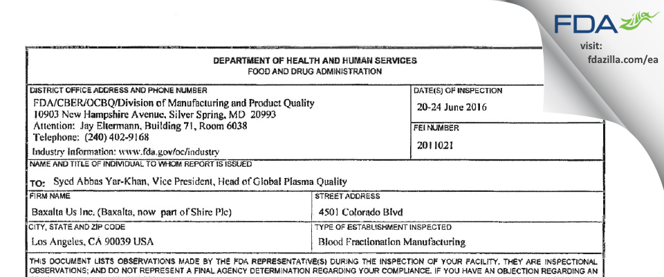 Baxalta (Shire) FDA inspection 483 Jun 2016